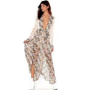 NWT Nasty Gal Floral Low Plunge Maxi Dress